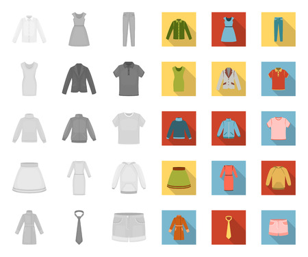 Different kinds of clothes mono,flat icons in set collection for design. Clothes and style vector symbol stock web illustration.