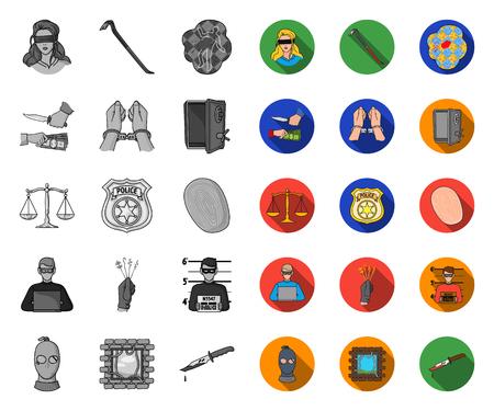 Delitto e castigo mono, icone piane in insieme di set per il disegno. Penale simbolo d'archivio web di vettore.