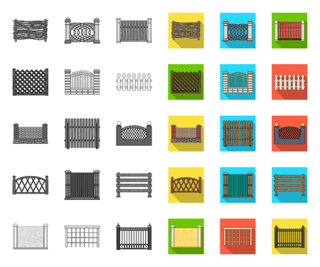 Different fence mono,flat icons in set collection for design.Decorative fencing vector symbol stock web illustration.