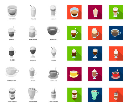 Different kinds of coffee mono,flat icons in set collection for design. Coffee drink vector symbol stock web illustration.