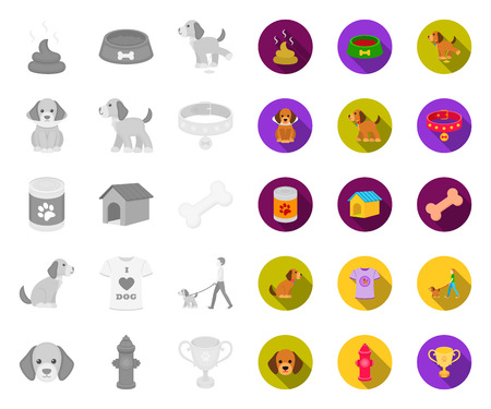 Pet dog mono,flat icons in set collection for design. Caring for the puppy vector symbol stock web illustration. Ilustração
