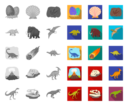 Different dinosaurs mono,flat icons in set collection for design. Prehistoric animal vector symbol stock web illustration.