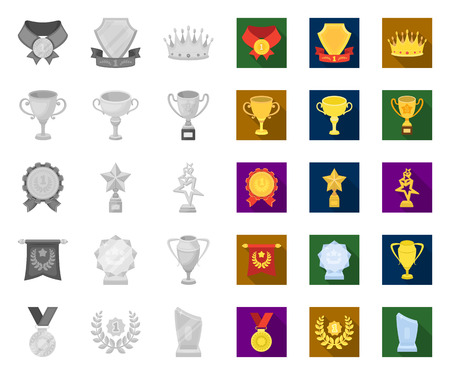 Awards and trophies mono,flat icons in set collection for design.Reward and achievement vector symbol stock web illustration. Illustration