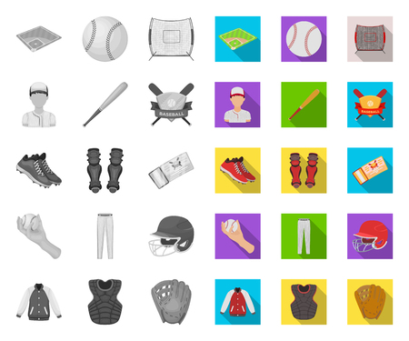 Baseball and attributes mono,flat icons in set collection for design.Baseball player and equipment vector symbol stock web illustration.