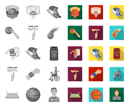 Basketball and attributes mono,flat icons in set collection for design.Basketball player and equipment vector symbol stock web illustration. Ilustração Vetorial