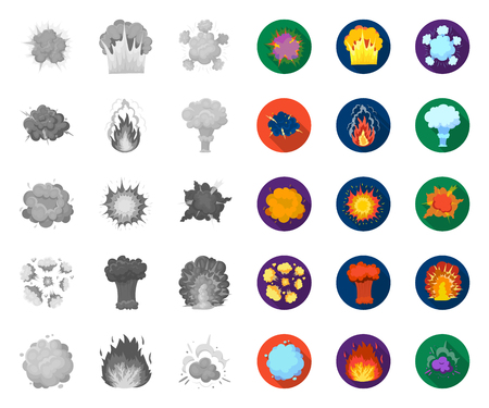 Different explosions mono,flat icons in set collection for design.Flash and flame vector symbol stock web illustration.