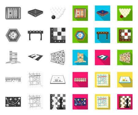 Board game mono,flat icons in set collection for design. Game and entertainment vector symbol stock web illustration. Illustration