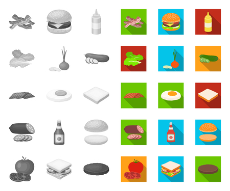 Burger and ingredients mono,flat icons in set collection for design. Burger cooking vector symbol stock web illustration. Zdjęcie Seryjne - 122242973