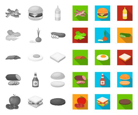 Burger et ingrédients mono, icônes plates dans la collection de jeu pour la conception. Burger cuisson symbole vecteur illustration web stock.