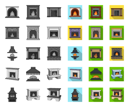 Different kinds of fireplaces mono,flat icons in set collection for design.Fireplaces construction vector symbol stock web illustration.
