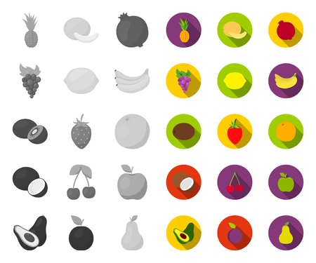 Different fruits mono,flat icons in set collection for design. Fruits and vitamins vector symbol stock web illustration.