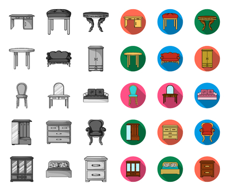 Furniture and interior mono,flat icons in set collection for design.Home furniture vector symbol stock web illustration.