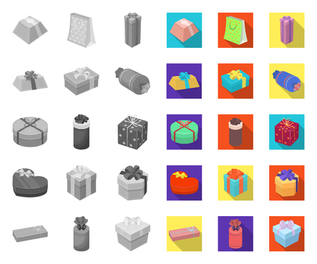 Gift and packing mono,flat icons in set collection for design.Colorful packing vector symbol stock web illustration.