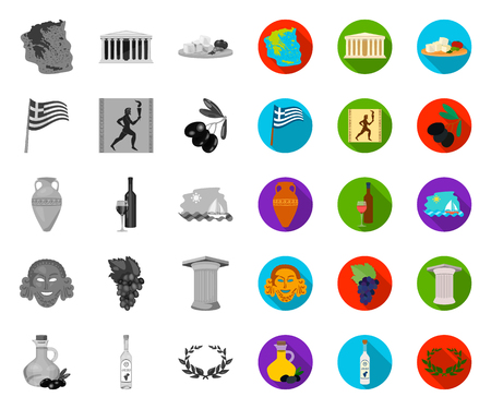 Country Greece mono,flat icons in set collection for design.Greece and landmark vector symbol stock web illustration.