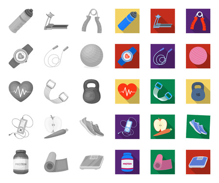 Gym and training mono,flat icons in set collection for design. Gym and equipment vector symbol stock web illustration.