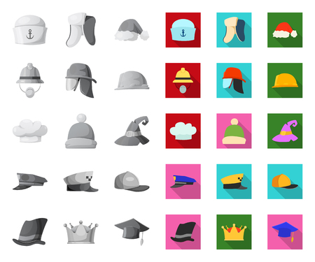 Isolated object of headgear and cap. Set of headgear and headwear vector icon for stock. Ilustração