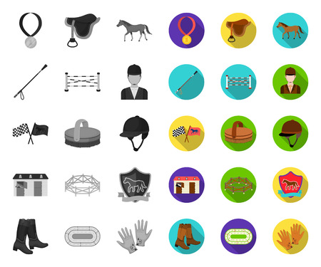 Hippodrome and horse mono,flat icons in set collection for design. Horse Racing and Equipment vector symbol stock web illustration.