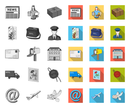 Courrier et facteur mono,télévision icônes dans la collection de jeu pour la conception. Courrier et équipement vecteur symbole stock illustration web.