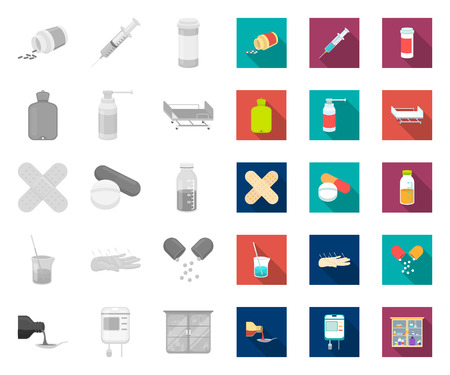 Medicine and treatment mono,flat icons in set collection for design. Medicine and equipment vector symbol stock web illustration.