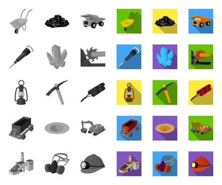 Mining industry mono,flat icons in set collection for design. Equipment and tools vector symbol stock web illustration. Vektoros illusztráció