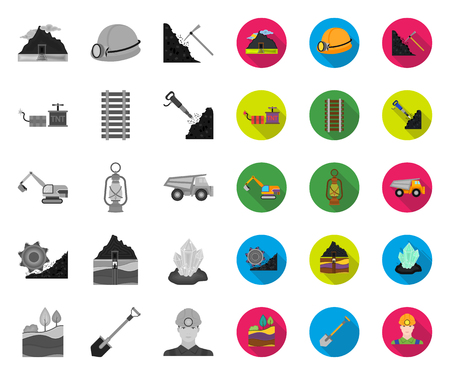 Mining industry mono,flat icons in set collection for design. Equipment and tools vector symbol stock web illustration. Illustration