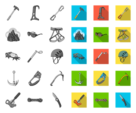 Mountaineering and climbing mono,flat icons in set collection for design. Equipment and accessories vector symbol stock web illustration. Ilustrace