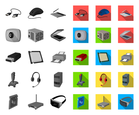 Personal computer mono,flat icons in set collection for design. Equipment and accessories vector symbol stock web illustration. Фото со стока - 122243538