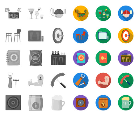 Pub, interior and equipment mono,flat icons in set collection for design. Alcohol and food vector symbol stock web illustration.