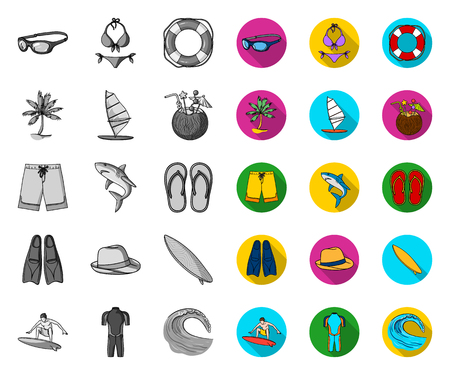 Surfing and extreme mono,flat icons in set collection for design. Surfer and accessories vector symbol stock web illustration.
