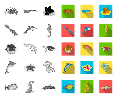 A variety of marine animals mono,flat icons in set collection for design. Fish and shellfish vector symbol stock web illustration.