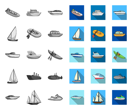 Water and sea transport mono,flat icons in set collection for design. A variety of boats and ships vector symbol stock web illustration.