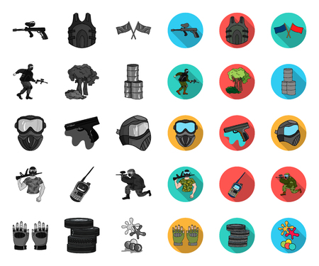 Paintball, team game mono,flat icons in set collection for design. Equipment and outfit vector symbol stock web illustration.
