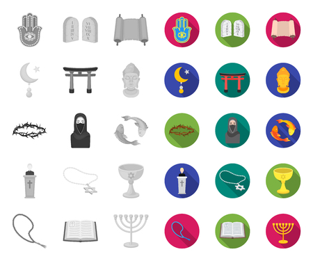 Religion and belief mono,flat icons in set collection for design. Accessories, prayer vector symbol stock web illustration.