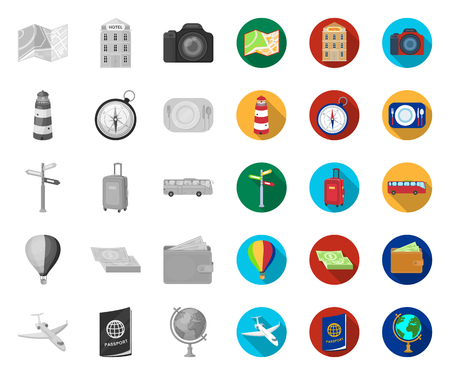 Rest and travel mono,flat icons in set collection for design. Transport, tourism vector symbol stock web illustration.