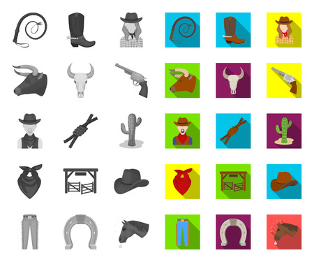 Rodeo, competition mono,flat icons in set collection for design. Cowboy and equipment vector symbol stock web illustration.
