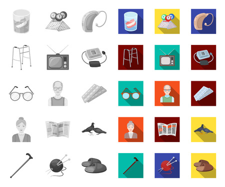 Human old age mono,flat icons in set collection for design. Pensioner, period of life vector symbol stock web illustration. Ilustracja
