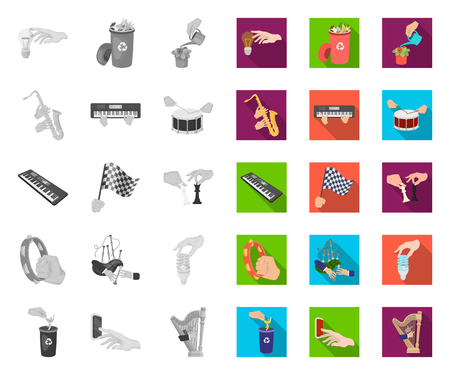 Manipulation by hands mono,flat icons in set collection for design. Hand movement vector symbol stock web illustration.