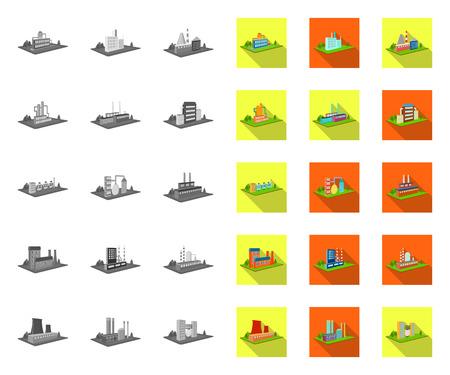 Fabriek en plant mono, plat pictogrammen in set collectie voor design. Productie en onderneming isometrische symbool voorraad web vectorillustratie.