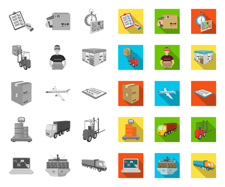 Logistics and delivery mono,flat icons in set collection for design. Transport and equipment isometric vector symbol stock web illustration.