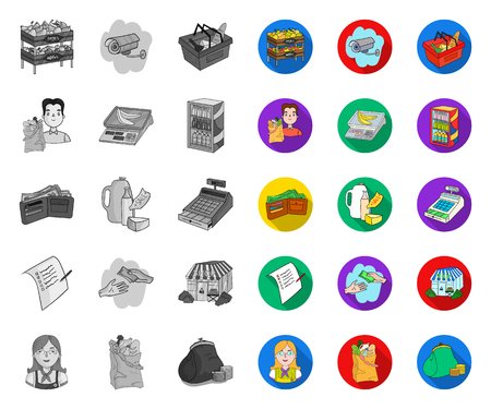 Supermarket and equipment mono,flat icons in set collection for design. Purchase of products vector symbol stock web illustration.