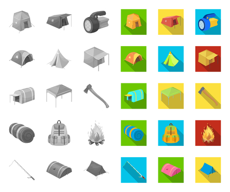 Different kinds of tents mono,flat icons in set collection for design. Temporary shelter and housing vector symbol stock web illustration.
