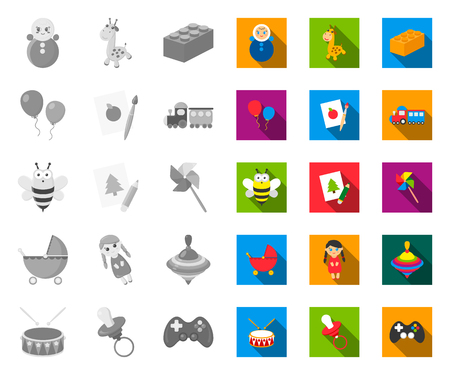 Childrens toy mono,flat icons in set collection for design. Game and bauble vector symbol stock web illustration.