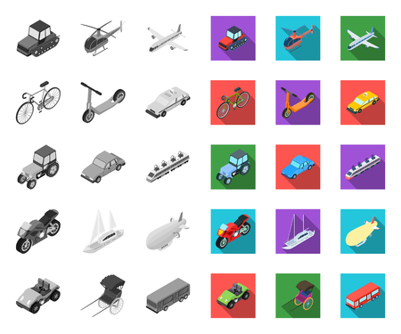 Different types of transport mono,flat icons in set collection for design. Car and ship isometric vector symbol stock web illustration.