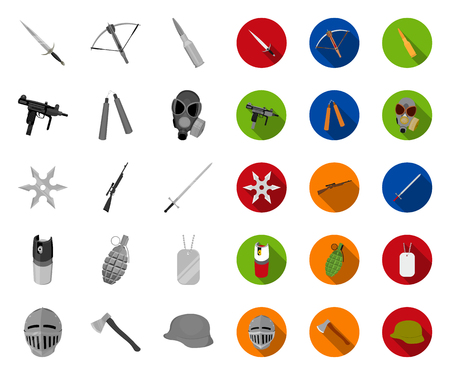 Types of weapons mono,flat icons in set collection for design.Firearms and bladed weapons vector symbol stock web illustration.
