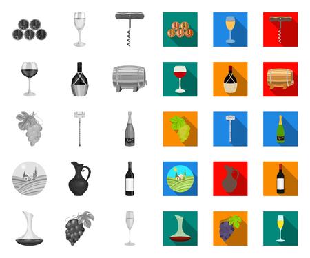 Produits vinicoles mono, icônes plates dans la collection de jeu pour la conception. Équipement et production d'illustration de stock de symbole de vecteur de vin.
