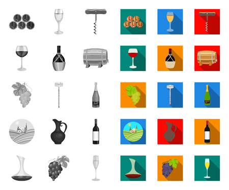 Wine products mono,flat icons in set collection for design. Equipment and production of wine vector symbol stock web illustration.