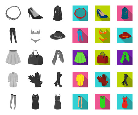 Womens Clothing mono,flat icons in set collection for design.Clothing Varieties and Accessories vector symbol stock web illustration.