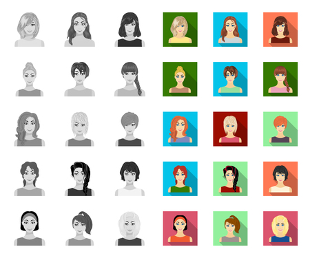 Types of female hairstyles mono,flat icons in set collection for design. Appearance of a woman vector symbol stock web illustration. Vektorové ilustrace