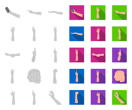 Gestures and their meaning mono,flat icons in set collection for design.Emotional part of communication vector symbol stock web illustration.