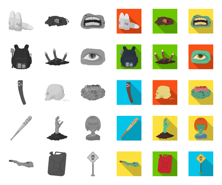 Zombies and Attributes mono,flat icons in set collection for design. Dead man vector symbol stock web illustration.